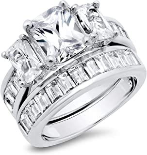 2 Carat Radiant Cut Cubic Zirconia CZ Sterling Silver Women's Wedding Engagement Ring Set Size 4 to 11
