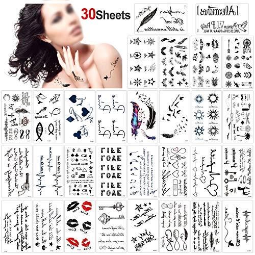 Konsait Tatouages Temporaires pour femme homme enfants (30 feuilles), Imperméables Faux Tatouages Body Art Autocollants De Tatouage Noir bras poignet Tatouages tattoo