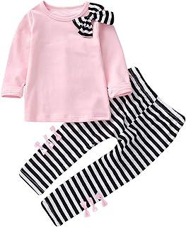Ropa Niña Ropa para Bebe Niña de 1 a 6 años Invierno Ropa de Niña a la Moda 2018 Blusas Bowknot Camiseta de Manga Larga Conjunto Niña Pantalon y Top Otoño Fiesta