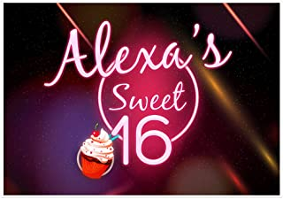 Neon Glare Personalized Sweet Sixteen 16 Birthday Banner Party Decoration