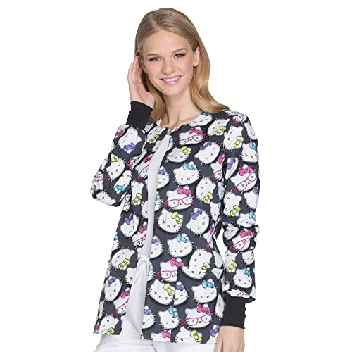 b2826742684 Cherokee Tooniforms Women's Snap Front Hello Kitty Print Scrub Jacket Large  Print