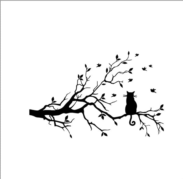 Woshishei Wall Sticker Cat On Long Tree Branch Wall Sticker Animals Cats Art Decal Kids Room Decor