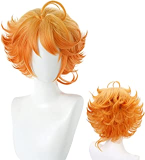 Anime The Promised Neverland Emma Cosplay Wig Short Orange Curly Party Hair Halloween Costume Accessories