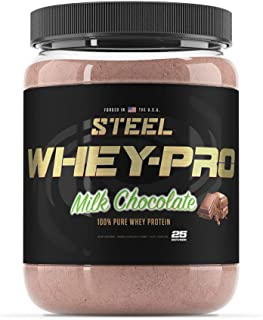Steel Supplements Whey-PRO Whey Protein Powder Supplement Supports Lean Muscle Gains (Milk Chocolate 25 Serving)