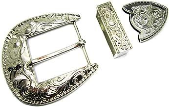Western Cowboy 3 Piece Buckle Set Engraved Longhorn Fits 1.5 inch 40mm Belts