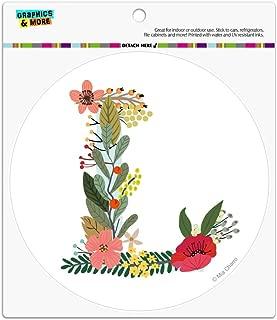 Graphics and More Letter L Floral Monogram Initial Automotive Car Refrigerator Locker Vinyl Circle Magnet
