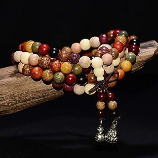 Stone Bracelet,Sandalwood Tibetan Prayer Beads Buddha Mala Rosary Wooden Charm Bracelet 108 * 6Mm/8Mm