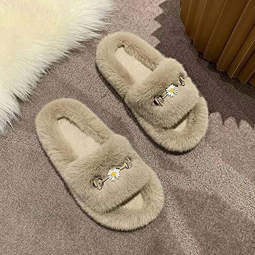 B/H Zapatillas de casa Furry Winter Boo,Le Donne indossano Infradito, pantofole in Caldo Cotone antiscivolo-Brown_38,Zapatillas de diabético Fit Memory Foam