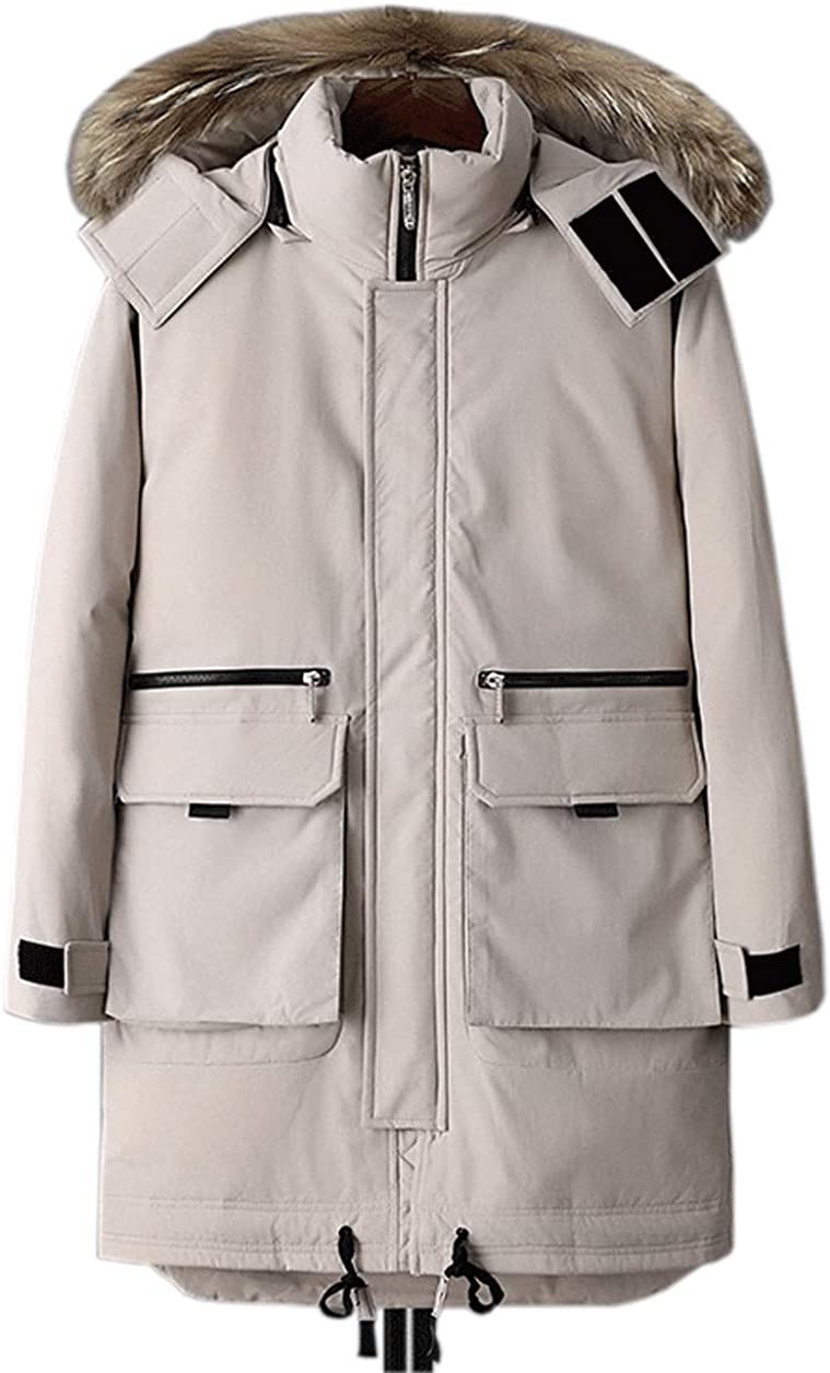 chouyatou Men's Outdoor Casual Fur Hood Ski Snow Parka Jacket Down Alternative Coat