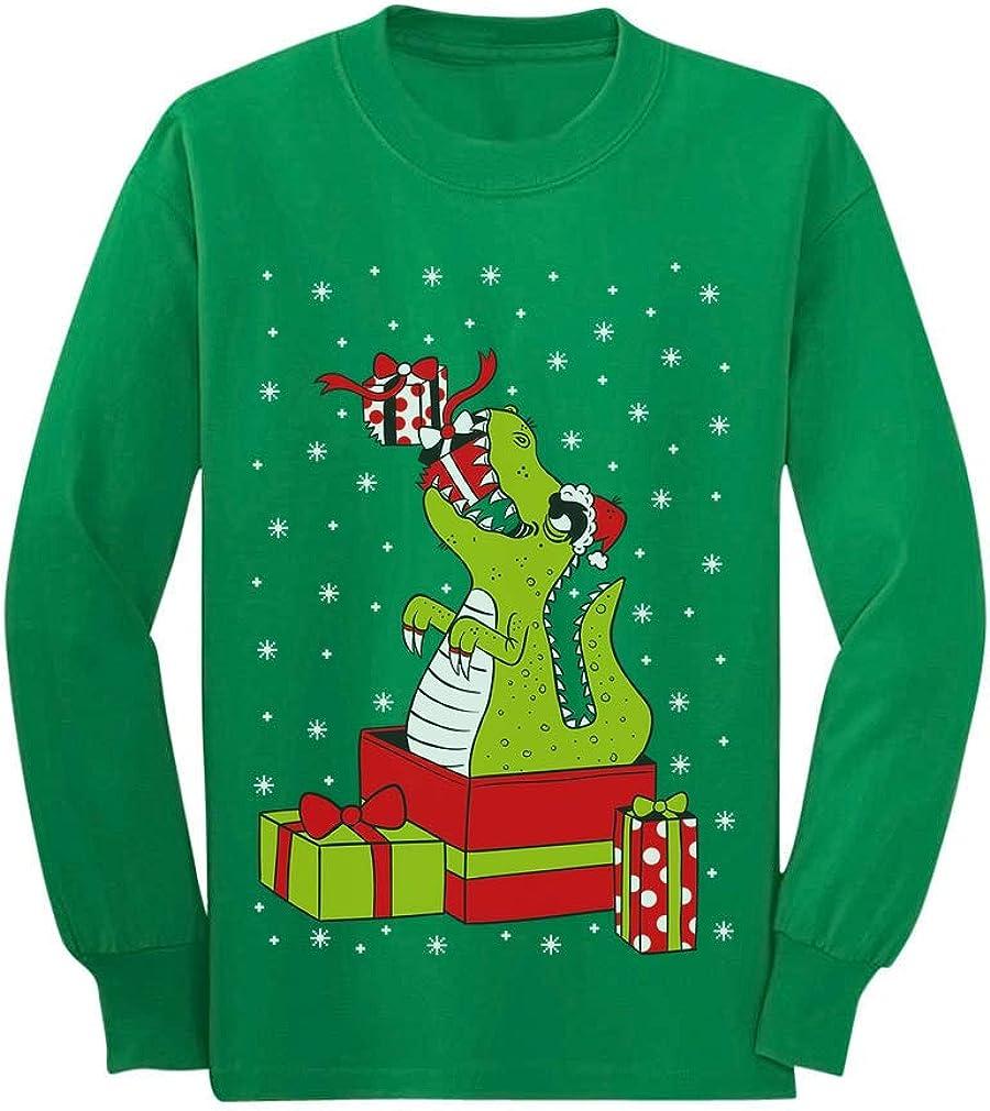 T-Rex Dinosaur Ugly Sweater Style Kids Long Sleeve T-Shirt