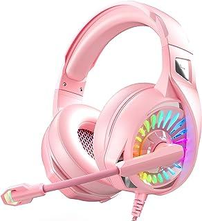 Nivava - Auriculares de diadema para PS4, Xbox One, PC con micrófono y luz LED para Nintendo Switch PS5 Playstation PC, K7 (rosa)