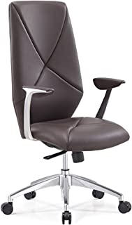 Modern Hearst Leather and Chrome Adjustable Office Chair with Aluminum Base - Brown