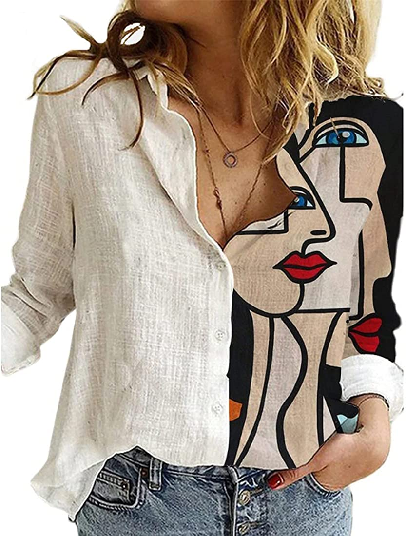Women Floral Graphic Print V Neck Button Down Shirt Casual Long Sleeve Roll Up Blouse Tops