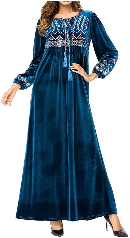 QINJLI Women's OnePiece Skirt, Fashion Simple Embroidered Korean Velvet Muslim Robe Loose High Waist Maternity Wear