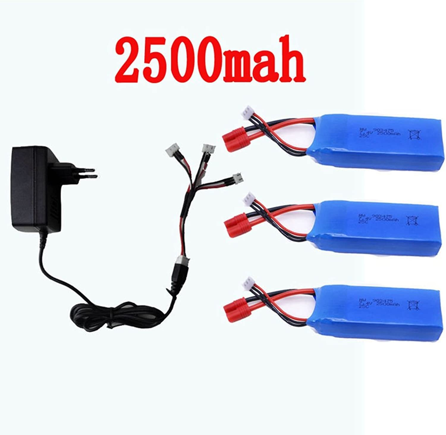 TSPFJX Syma X8C X8W X8G X8HC X8HW X8HG RC Drone Quadcopter Spare Parts 3 PCS 2500mah Battery+1 to 3 Charger Wire+ Charger