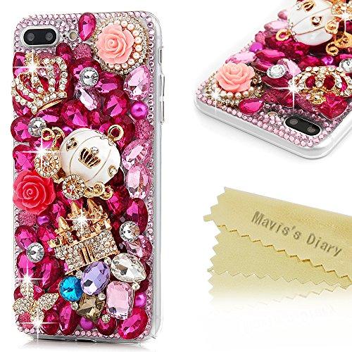 iPhone 7 Plus Case (5.5 inch) - Mavis's Diary 3D Handmade Bling Crystal Diamond Shiny Sparkling Rhinestones Full Edge Protective Clear Hard PC Cover (Red)