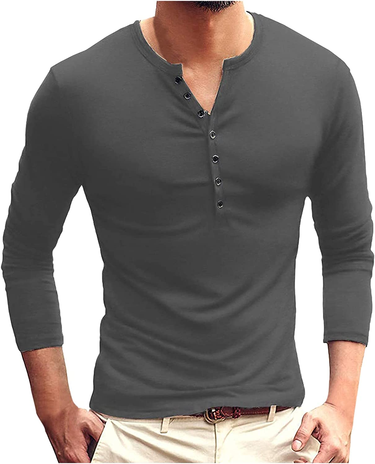 WOCACHI Basic Tshirts For Mens, Fall Button-Up Henley Long Sleeve Round Neck Tee Tops Casual Solid Slim Fit T-Shirt