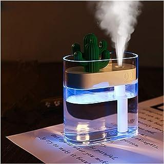 160ML Air Humidifier Clear LED Cactus Portable Ultrasonic Silent USB Essential Oil Diffuser Home Car Office Air Purifier (...