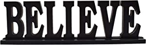E-view Wooden Joy Sign for Home Decor, Decorative Wood Letters Rustic Word Cut Out Fireplace Mantel Tabletop Decoration (Believe)