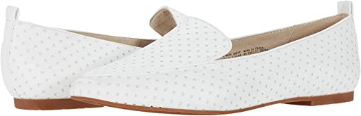 White Perforated V Leather