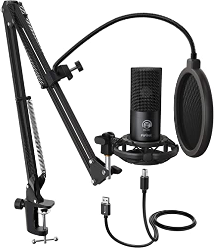 FIFINE Studio Condenser USB Microphone Computer PC Microphone Kit with Adjustable Scissor Arm Stand Shock Mount for I...