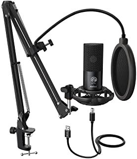FIFINE Studio Condenser USB Microphone Computer PC Microphone Kit with Adjustable Scissor..