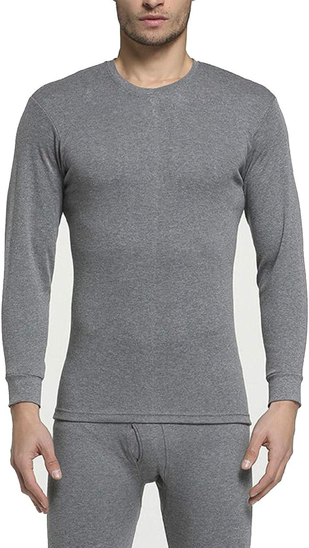 Winter 100% Cotton Round Neck Warm Long Set for Men Ultra Soft Thin Thermal Underwear,O- Dark Grey,M