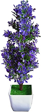 HYPERBOLES Artificial Bonsai Plant Tree for Home Decor Real Touch Plant - 16INCH (Blue)