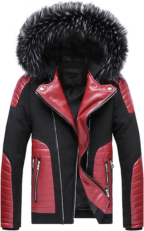 Snhpk Mens Parka Coat Jacket Detachable Hooded Faux Fur Zip-Up Thicken Warm Puffer Windbreaker Outerwear Overcoat
