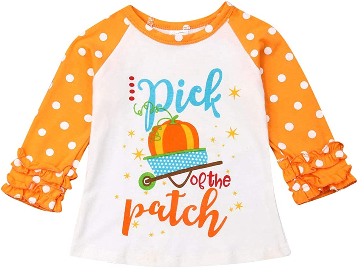 Toddler Girls Blouse Halloween Long Sleeve Printed Ruffles T-Shirt Tops Clothes Outfits