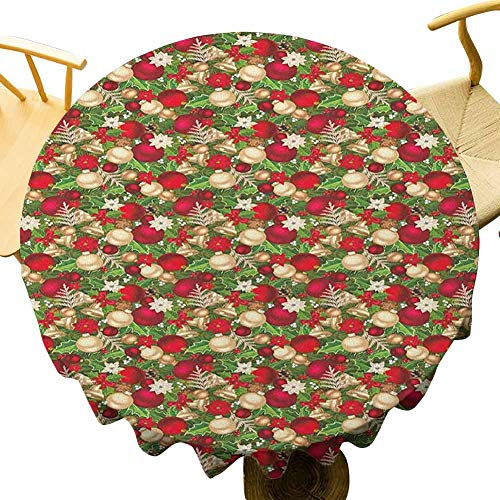 Christmas Tablecloth - 50 Inch Celebration Round Table Cloth Tree Branches Balls Bells Cones Poinsettia Flowers Mistletoe Berry Enjoy Dining Gold White Red and Green