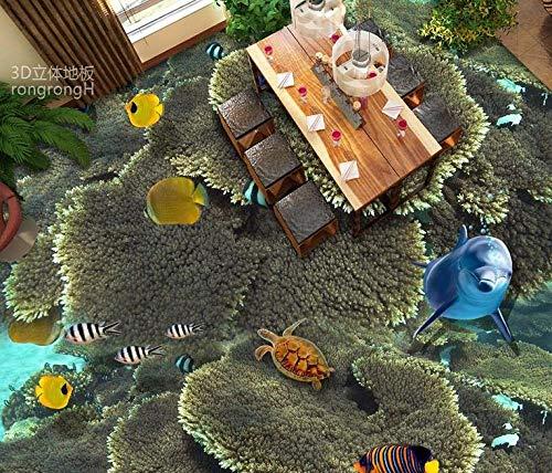 Benutzerdefinierte 3d Unterwasserwelt tropischen Fischboden Badezimmer 3d stereoskopische Tapete wasserdichter Bodenbelag für Badezimmer-430 * 300cm