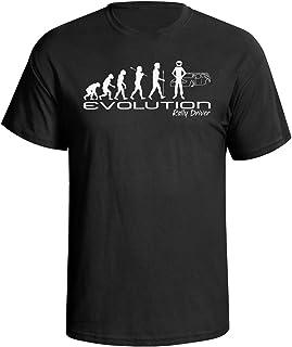 Evolution of a rally driver Mens Camiseta Para Hombre rally racing car funny gift present t shirt Black shirt white print
