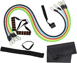 XWXBB weerstandsbandenset, fitnessbanden weerstandsbanden met handgrepen, deuranker, voetbanden + draagtas (11-delig), tub...