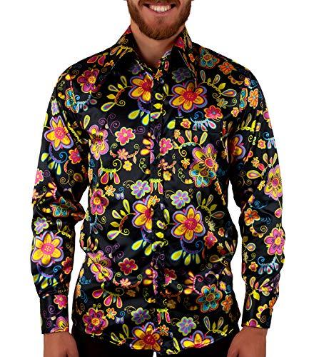 COMYCOM 70er Blumenhemd schwarz bunt Hippie Look, Mehrfarbig, XL