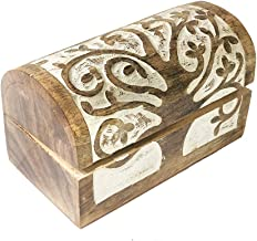 Handmade Trinket Jewelry Box Wooden Storage Organizer Boxes Cigar 9 x 6 Inches Decorative Keepsake Treasure Chest Holder Watch Storage Memory Coin Playing Cards Case Hand Craved Tree of Life