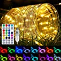 JMEXSUSS 100 LED Color Changing Rope Lights,33ft Outdoor Waterproof Rope Tube Lights with Remote,USB Powered Indoor Fairy Rope Lights for Bedroom