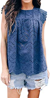 Womens Lace Floral Hollow Out Sexy Flare Loose Cute Cotton Shirt Blouse Top Casual Summer Round Collar Tunic