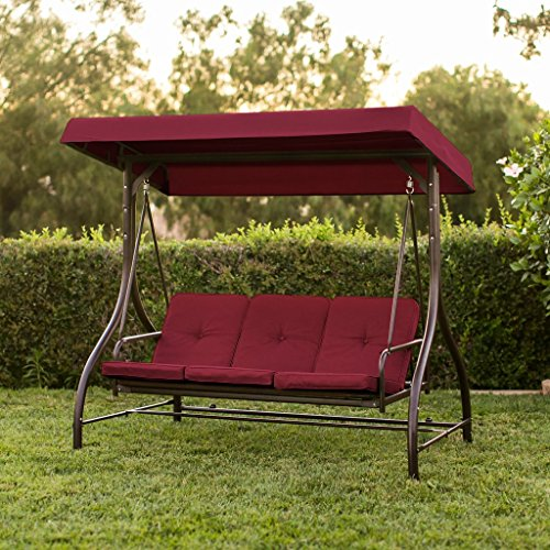 Best Convertible Patio Swing Chair for 3 Person with Canopy and Firm Cushions Perfect Set for Patio, Garden, Outdoor, Porch and Poolside. (Red)
