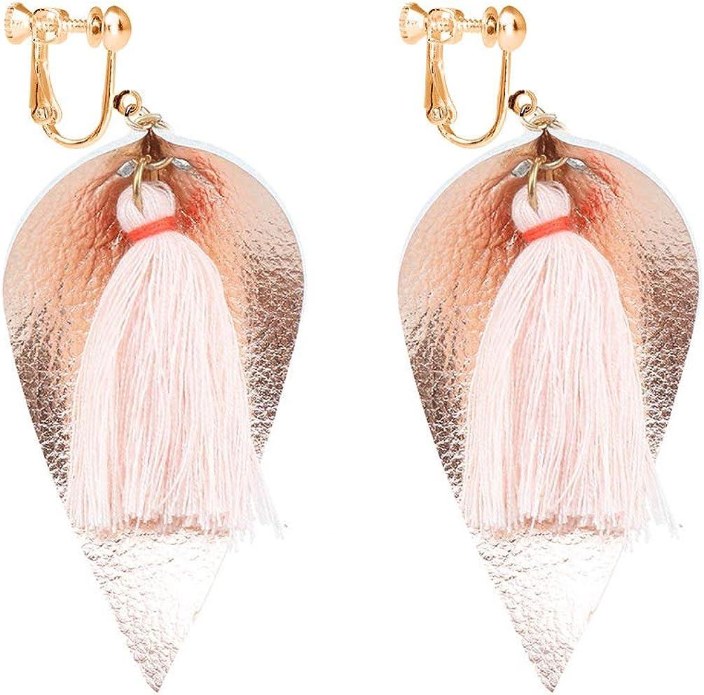 Bohemian Dangle Leather Clip on Earring Thread Tassel Earring Faux PU Lightweight Leaf Teardrop Drop