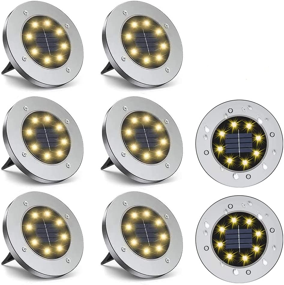 Solar Lights Solar Ground Lights for Garden Yard Lawn Outdoors Patio Waterproof Solar Disk Lights Warm White(4 Pack/8 Pack) (8 Pack)