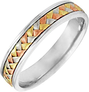 14K Tri Color Gold Braided Basket Weave Women's Comfort Fit Wedding Band (5.5mm)