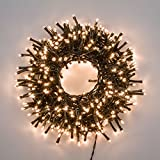 XMASKING Catena Nastro di Luce 20,5 m, 1000 LED Bianco Caldo Ø 5 mm, Fascio Luce Ø 6 cm, Cavo Verde, luci Decorative, luci Natalizie, Catena per Albero di Natale