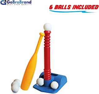 GoBroBrand T-Ball Set for Toddlers, Kids, Baseball Tee Game Includes 6 Balls, Adjustable T Height - Adapts with Your Child's Growth Spurts, Improves Batting Skills for Boys & Girls Age 2-12 Yrs Old