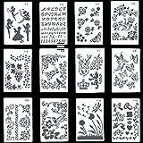 Copeflap ステンシルシート 12枚組 ステンシル 手帳 テンプレート ステンシルプレート アルファベット 定規 数字 文字 描画 (花柄模様)