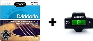 D'Addario EXP16 Coated Phosphor Bronze Acoustic Guitar Strings, Light & NS Micro Soundhole Tuner Bundle