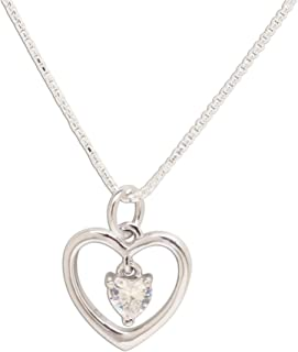 """Girl's Sterling Silver""""Dancing Heart"""" Simulated Birthstone Necklace"""