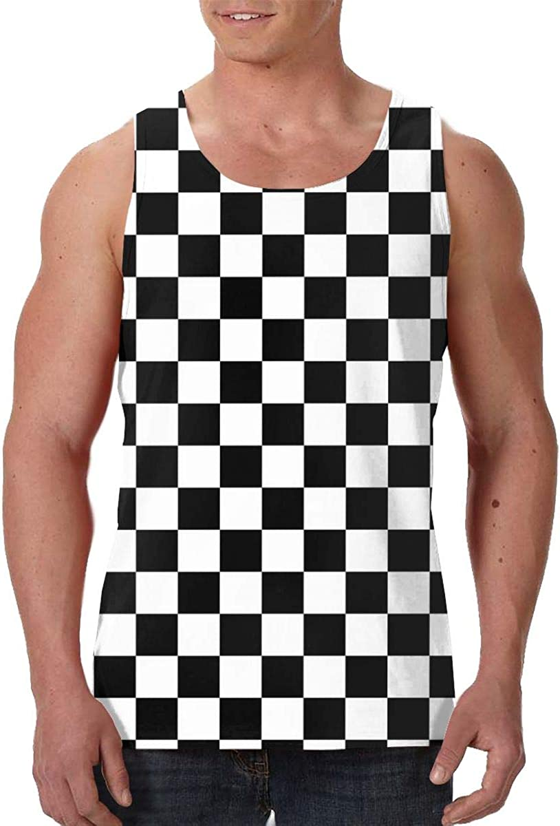 Fengyaojianzhu Checkerboard Men's Los Max 88% OFF Angeles Mall Tank Sleev Top Fashion T-Shirt