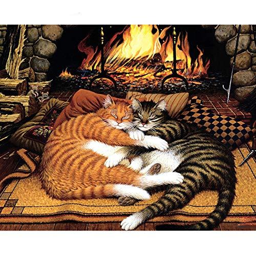 HUINXVEU Kamin Kätzchen Digitales Ölgemälde für Kinder Pop Digitales Malen Geschenkset Raumdekor Maler40x50cm Kein Rahmen