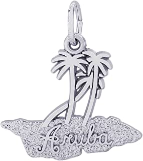 Rembrandt Charms Sterling Silver Aruba Island Map Charm on a 16, 18 or 20 inch Rope, Box or Curb Chain Necklace